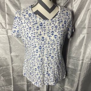 Old Navy Blue & White Anchor Tee Shirt
